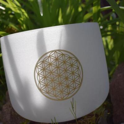 Bol en cristal de quartz fleur de vie 23 cm avec housse